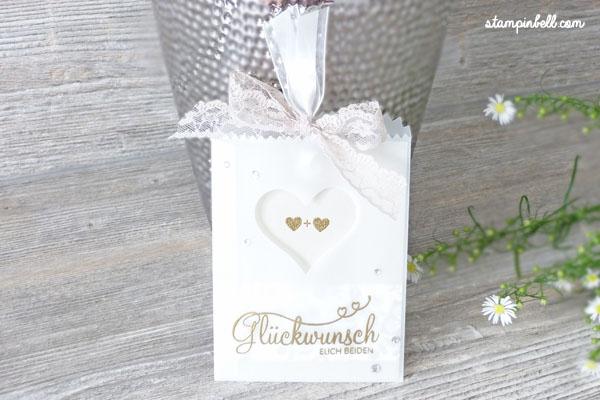 Glückwunschkarte zur Hochzeit Perfekter Tag Karte Stampin´ Up! Stampinbell Embosst Besonderes Kartenformat