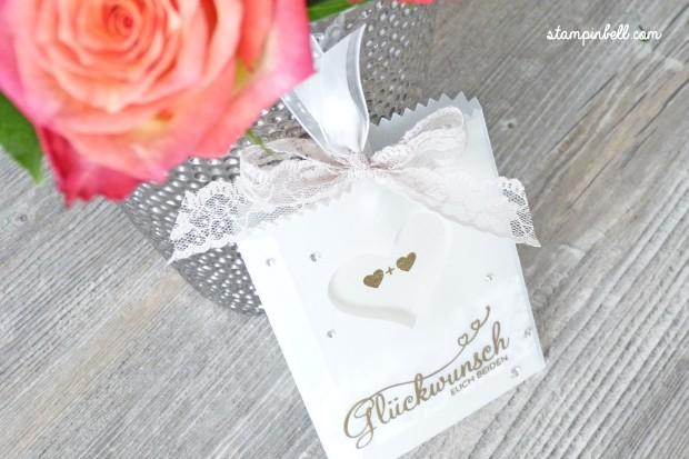 Glückwunschkarte zur Hochzeit Perfekter Tag Karte Stampin´ Up! Stampinbell Gold Pergament Edel Schlicht