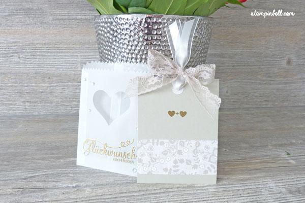 Glückwunschkarte zur Hochzeit Perfekter Tag Karte Stampin´ Up! Stampinbell Pergamentpapier Mini Leckereientüte