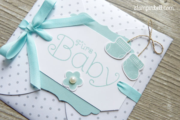 Karte aus Kreisen Stampin Up Baby Aquamarin Something for Baby