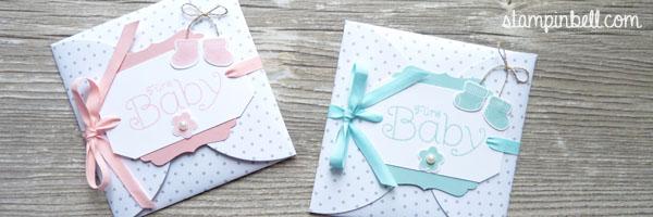 Karte aus Kreisen Stampin Up Baby Kirschblüte Aquamarin