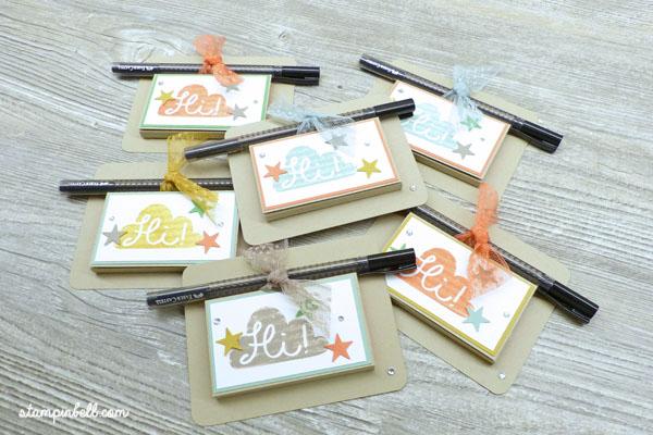 Post It Verpackung mit Stift Halterung Kataloggoodie Stampin Up! InColor Du bist fabelhaft
