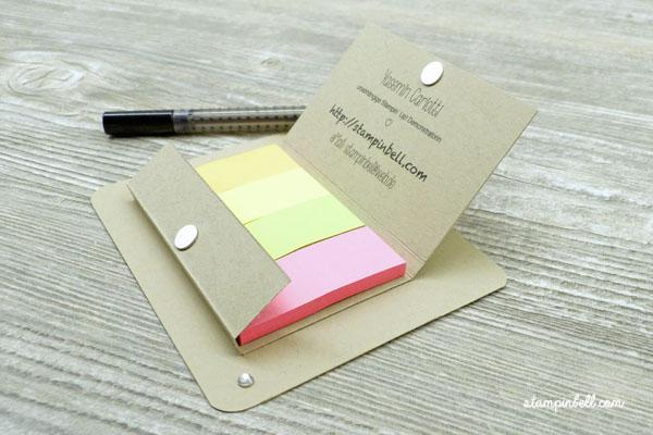 Post It Verpackung mit Stift Halterung Kataloggoodie Stampin Up! Magnetverschluss