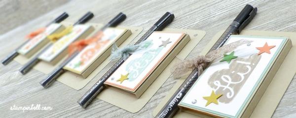 Post It Verpackung mit Stift Halterung Kataloggoodie Stampin Up!