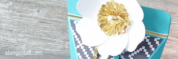 Selbstschließende Schachtel Bigz Bouquet Bermudablau Gold Jede Menge Liebe Container