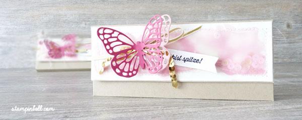 Verpackung mit Magnetverschluss Milka Stampin Up! Schmetterling Anleitung mit Naht
