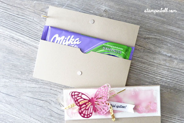 Verpackung mit Magnetverschluss Milka Stampin Up! Schmetterling Aquarell Rosenrot Pailetten