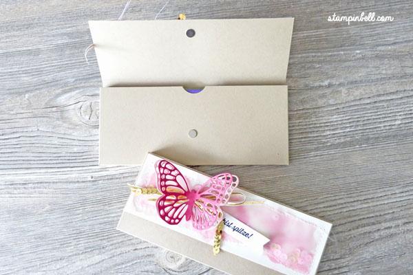 Verpackung mit Magnetverschluss Milka Stampin Up! Schmetterling Aquarell