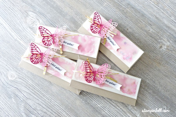 Verpackung mit Magnetverschluss Milka Stampin Up! Schmetterling