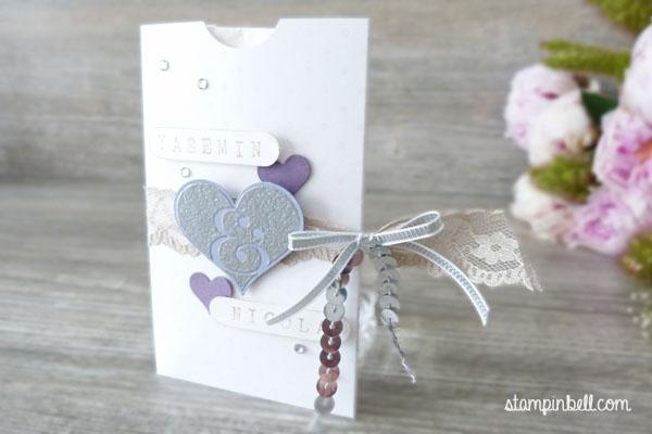 Freudentränen Herzklopfen Stampin Up! Lila Pflaumenblau Hochzeit Hochzeitspapeterie DIY