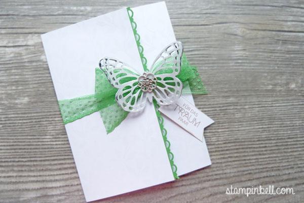 Glückwunschkarte zur Hochzeit Grasgrün Stampin´ Up! Schmetterling Thinlits Hochzeitskarte