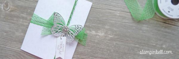 Glückwunschkarte zur Hochzeit Grasgrün Stampin´ Up! Schmetterling Thinlits Perfekter Tag Häkelbordüre