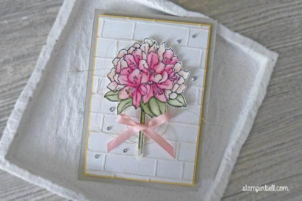 Karte alle Anlässe Gute Gedanken Stampin Up! Ziegel Prägeform Colorieren Stampinbell Kirschblüte Pastell Aquarell