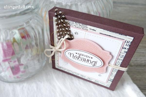 Schachtel Verpackung Yogurette Kinder Schokolade Ach, du meine Grüße!  Etikettkunst Lawn Fawn Kirschblüte Schokobraun