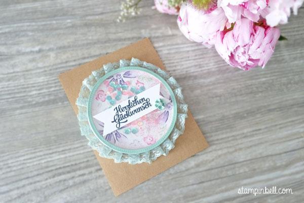 Schüttelkarte Shaker Card Glückwunschkarte Garden in Bloom Stampin Up! Stampinbell  Aquarelltechnik Maskingtechnik