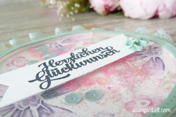 Schüttelkarte Shaker Card Glückwunschkarte Garden in Bloom Stampin Up! Stampinbell  Minzmakrone Maskingtechnik