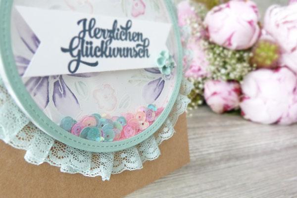 Schüttelkarte Shaker Card Glückwunschkarte Garden in Bloom Stampin Up! Stampinbell Pailletten Grußelemente