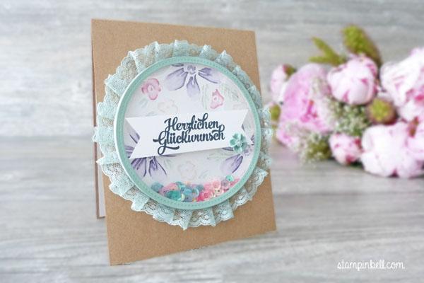 Schüttelkarte Shaker Card Glückwunschkarte Garden in Bloom Stampin Up! Stampinbell