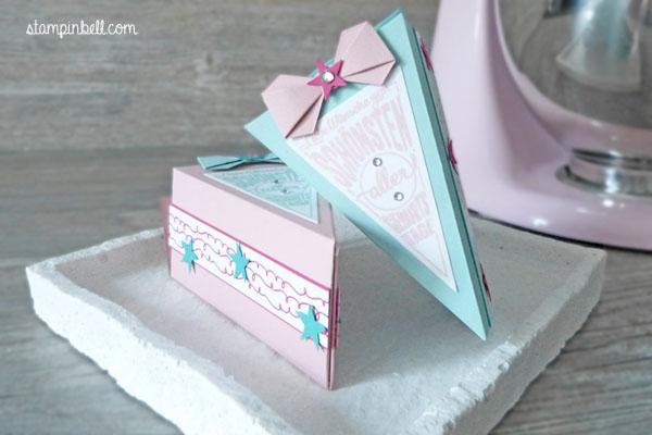 Tortenstück Stampin´ Up! Süße Stückchen Geburtstagsgeschenk Mitbringsel Geburtstagswünsche Stampinbell