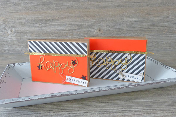 Geburtstagskarte Birthdaycard Hello You Thinlits Stampin´ Up! Gold Schwarz Neon