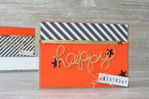 Geburtstagskarte Birthdaycard Hello You Thinlits Stampin´ Up! Neon Abreißetikett