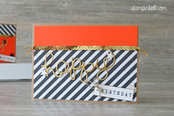 Geburtstagskarte Birthdaycard Hello You Thinlits Stampin´ Up! Stampinbell Neon Schwarz weiß
