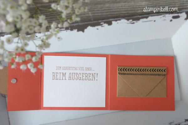 Klappkarte Gutscheine verschenken Geldgeschenke DIY Stampin´ Up! Geschenk deiner Wahl Geld verschenken Geburtstagskarte