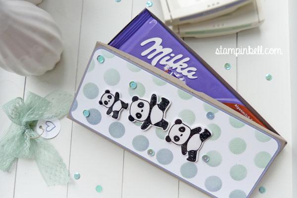 Milka Schokoladentafel Verpackung Stampin´ Up! Schokoverpackung Spitzenband
