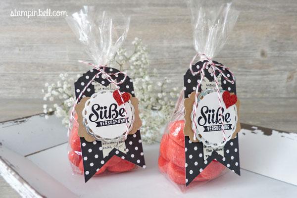 Süßigkeitentüte Süße Stückchen Nervennahrung Stampin Up! Stampinbell dreifach einstellbares Fähnchen Banner Haribo Erdbeeren