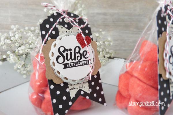 Süßigkeitentüte Süße Stückchen Nervennahrung Stampin Up! Stampinbell Haribo Primavera Banner Eleganter Anhänger Its Wild