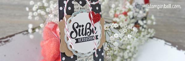Süßigkeitentüte Süße Stückchen Nervennahrung Stampin Up! Stampinbell Zierdeckchen Nascherei nett verpackt Haribo Primavera Erdbeeren