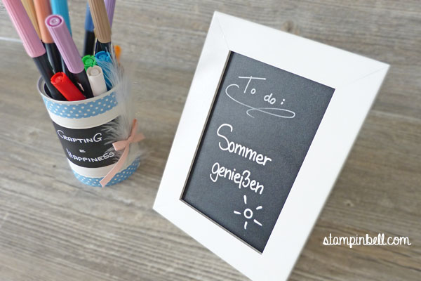Dose recyceln To Do liste Memoboard Chalkboard Stampin´ Up! Desk organisation