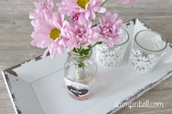 Homedeko Folia Stampin´ Up! Vase verzieren Deko für Zuhause Chalkboard Kreide