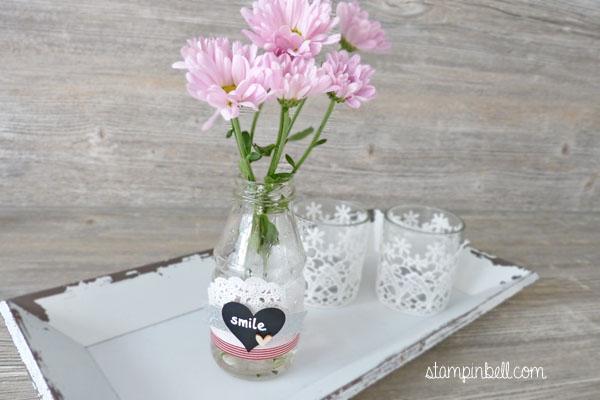 Homedeko Folia Stampin´ Up! Vase verzieren Deko für Zuhause Chalkboard Tafelfolie