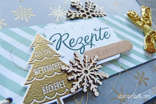 Mini Album Weihnachten Rezepteheft Rezeptesammlung Rezepte Stampin´ Up! O Tannenbaum Holzelemente
