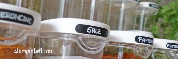 Organisation in meiner Küche Vorratsschrank Gewürze Wortfenster Stampin´ Up! Stampinbell