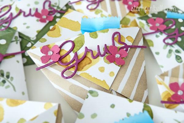 Origami Tasche Stampin´ Up! Thinlits Weihnachtliche Worte Englischer Garten