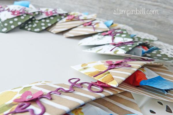 Origami Tasche Stampin´ Up! Thinlits Weihnachtliche Worte Goodie Kinder Riegel Gastgeschenk