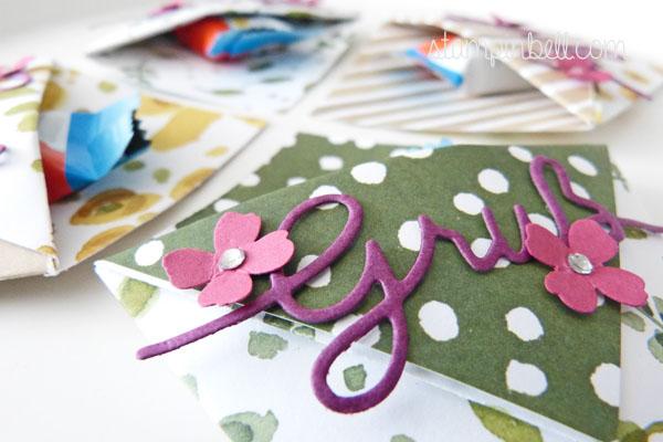 Origami Tasche Stampin´ Up! Thinlits Weihnachtliche Worte Gruß Goodie