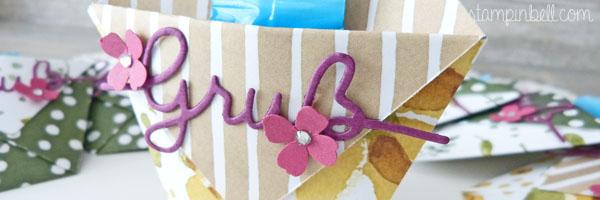 Origami Tasche Stampin´ Up! Thinlits Weihnachtliche Worte Stampinbell