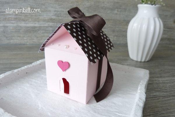 Leckereien-Box Häusschen Stampin´ Up! Vogelhäusschen Haus aus Papier DIY Verpackung