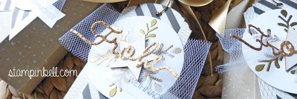 Piccolo Verpackung Stampin Up! Winterliche Weihnachtsgrüße Weihnachten Christmas Mitbringsel Geschenk Verpackung Sektverpackung